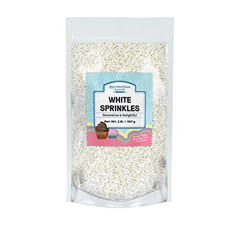 White Sprinkles, 1.5 lb Decorative & Fun Gluten-Free Jimmies for Baking
