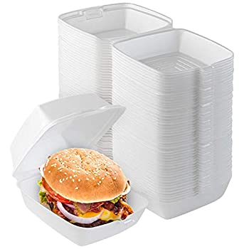 Stock Your Home 6 x 6 Clamshell Takeout Box  50 Count  - Foam Containers for Food - Small to Go Containers - Insulated Styrofoam Containers for Food Sandwiches Side Salads Pasta Delis Cafes