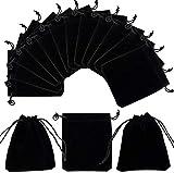 Queta Bolsas de Terciopelo con Cordón Negras, 50pcs Bolsas de Joyería Bolsas de de Regalo Pequeñas Bolsa de Embalaje de Regalo de Boda Fiesta, 12 × 10 cm