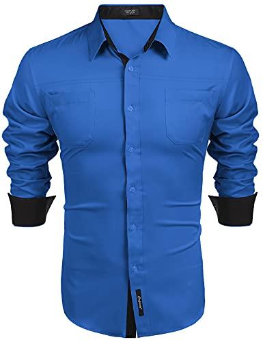 COOFANDY Camisa de manga larga para hombre, corte regular, básica, para el tiempo libre, fácil de planchar,...