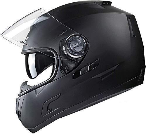GLX Unisex-Adult GX15 Lightweight Full Face Motorcycle Street Bike Helmet with Internal Sun Visor DOT Approved (Matte Black, Medium)
