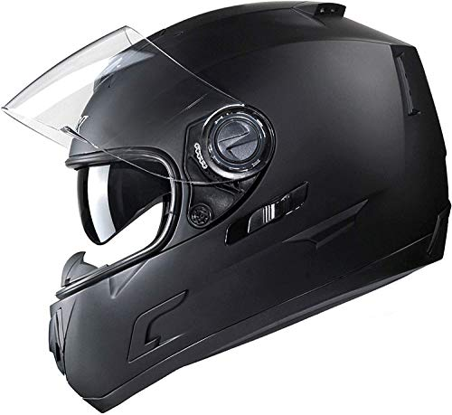 GLX Unisex-Adult GX15 Lightweight Full Face Motorcycle Street Bike Helmet with Internal Sun Visor DOT Approved (Matte Black, Large)