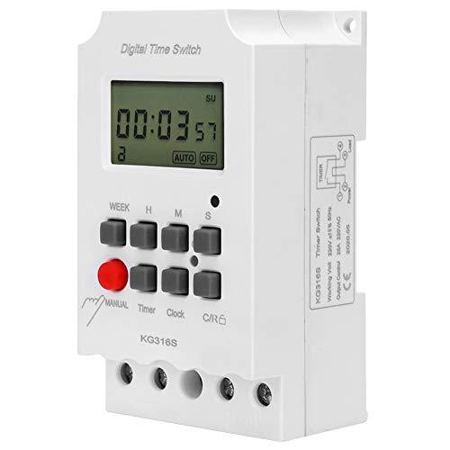 Interruptor de Tiempo Digital, Temporizador Electrónico Digital, Pantalla LCD Extragrande, Temporizador de Microordenador LCD, Temporizador de Segundo Control 32 Grupos Encendido/Apagado 220 V KG316S,