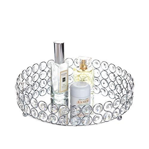 Feyarl – Bandeja de cosméticos de Plata, Redonda, joyería, Organizador, Bandeja Decorativa con Espejo