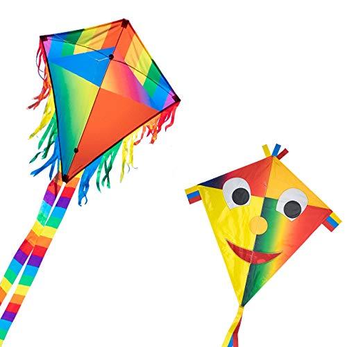CIM Drachenset - Joker Eddy [ 2 STÜCK Happy Joker / Maya Joker ] - Einleiner Flugdrachen für Kinder ab 3 Jahren - ca. 65x74cm - inkl. Drachenschnur und Streifenschwänze