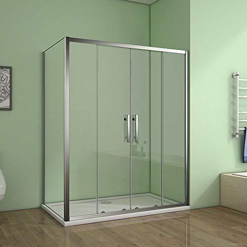 Cabine de douche 120x90x190cm porte de douche à l'accès au centre + paroi latérale