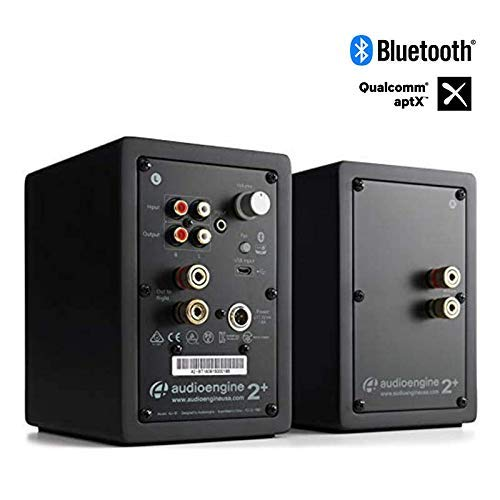 Audioengine A2+ Wireless 60W Altavoces de Ordenador con tecnología Avanzada   DAC y Amplificador Incorporado de 24 bits   Bluetooth aptX Codec, conexión USB Directa (Bluetooth, Negro)