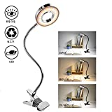 クリップライト LED デスクライト 3階段調色 10階段調光 USB式 8w LEDライト 360°回転 省エネ 明るい 目に優しい 卓上ライト 読書灯 デスクスタンド テーブルライト ナイトライトベッドサイドランプ(銀色)