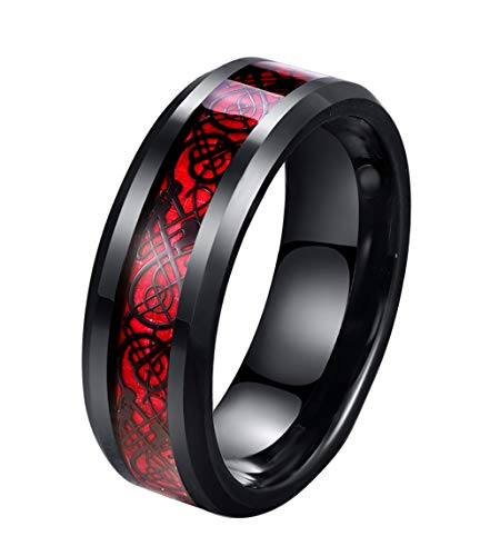 8mm Red Carbon Fiber Black Celtic Dragon Ring For Men Beveled Edges Wedding Band (7)