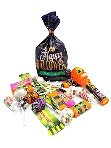 Halloween Trick or Treat Swizzels Trick or Treat Lolly Mix, Sweet Skulls Pop Ups Lollipops Refillable Lollipop Keeper in Halloween Themed Bag – 238g