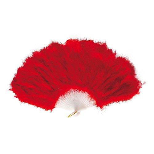 NET TOYS Éventail Rouge éventail Plumes Main éventail Rouge éventail de Femme déguisement Accessoire Mardi Gras Carnaval