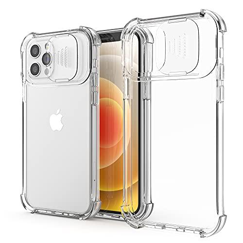 XTCASE Funda para iPhone 12 Pro MAX, Protección de la Cámara Transparente Carcasa Cubierta de Cámara Deslizante Proteger Ultra-Fina Híbrida PC + TPU Anti-Choque Anti-arañazos