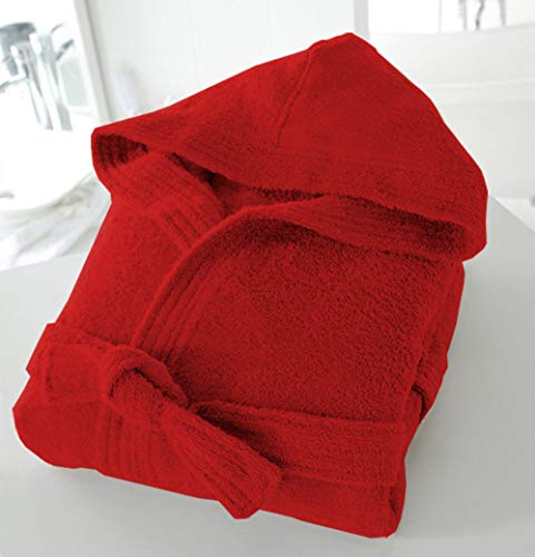 Casabella – Albornoz de tejido de rizo con capucha unisex (100 % algodón, 500 g/m²), algodón, Rojo, S/M