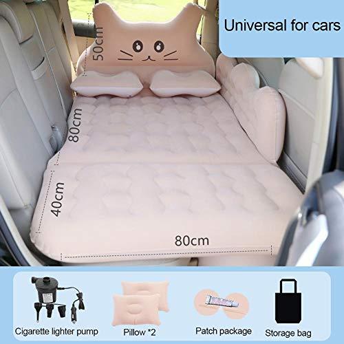 GoldCister Auto Aufblasbare Reiseluftmatratze Bett, Rücksitz Schlafunterlage Premium +2 Kissen, Tragbare Auto Matratze Universal Für Auto SUV MPV