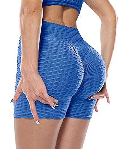 COMFREE Mujer Pantalones Cortos Deportivos Yoga Leggins Shorts de Cintura Alta Control de Barriga Leggings PantalóN Corto Fitness Correr Transpirable y Antibacteriano Azul S