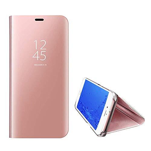 Yobby Spiegel Hülle für Samsung Galaxy A50,Ultra Slim Tasche Handyhülle Technologie Überzug Flip Case mit Clever Fenster Aussicht,360 Grad Komplett Stoßfest Stand Schutzhülle-Rose Gold