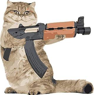 "MAGNET Ak47 Kalashnikat Funny Cat Gun Magnet Decal Fridge Metal Magnet Window Vinyl 5"""