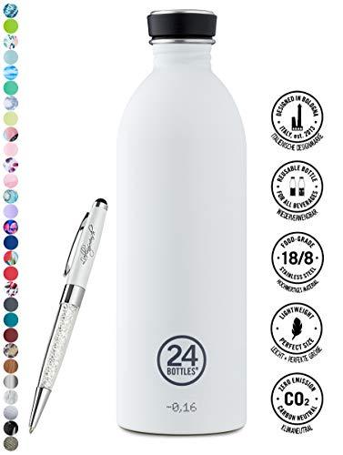 24 Bottles Trinkflasche Urban 250 ml | 500 ml | 1000 ml versch. Farben inkl. Lieblingsmensch Kugelschreiber, Größe:1000 ml, Farbe:ice white