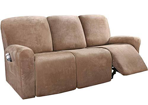 BANNAB Fundas reclinables para 3 Cojines, 8 Piezas Fundas para sofás reclinables Fundas de Terciopelo elásticas para sofás Fundas para Muebles Protector-A