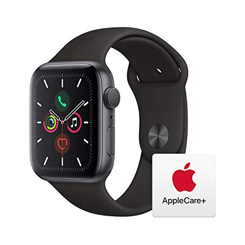 Apple Watch Series 5 (GPS, 44mm) - Space Gray Aluminum Case with Black Sport Band with AppleCare+ Bundle