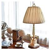 Lampada da Tavolo Lusso marmo naturale giada bianca lampada da tavolo in camera di studio salotto di lettura lampada da letto lampada da comodino con paralume del tessuto 31.9' Altezza Lampada Comodin