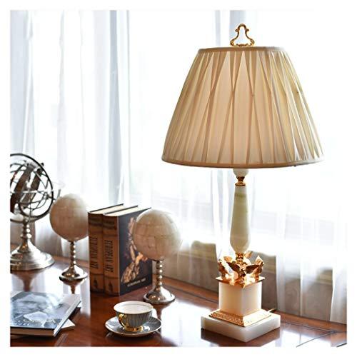 Lámpara para mesita de noche Lujo Natural Jade blanco mármol Lámpara de mesa Sala de Estudio Sala de lectura lámpara de dormitorio de la lámpara de cabecera con la pantalla de la tela 31.9' Altura Lám