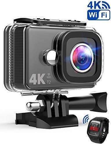 TEC.BEAN Action Cam 14MP Wi-Fi 4K Ultra-HD Action Camera, Telecamera Sport Impermeabile Fino a 45m, Videocamera con Obiettivo Grandangolare da 170°, Telecomando da 2,4GHz, Batteria Ricaricabile