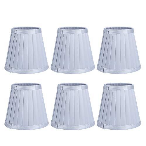 6 Stück Lampenschirme, Stoff Lampenschirm Moderne Glühbirnenabdeckung Lampenschirm mit guter Lichtdurchlässigkeit für Kronleuchter Wandleuchte Silber