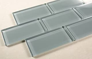 Marble `n things Ice Mist Glossy - 3x6 Blue Grey Glass Tile - Bathroom Tile & Kitchen Backsplash Tile