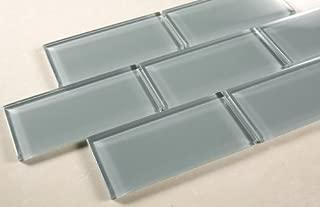 Marble 'n things Ice Mist Glossy - 3x6 Blue Grey Glass Tile - Bathroom Tile & Kitchen Backsplash Tile