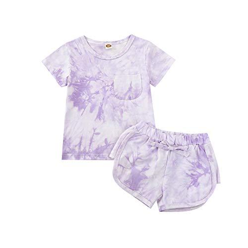 sunnymi Juego de ropa de 1 a 6 años para niños y niñas, de verano, de manga corta morado 3-4Años
