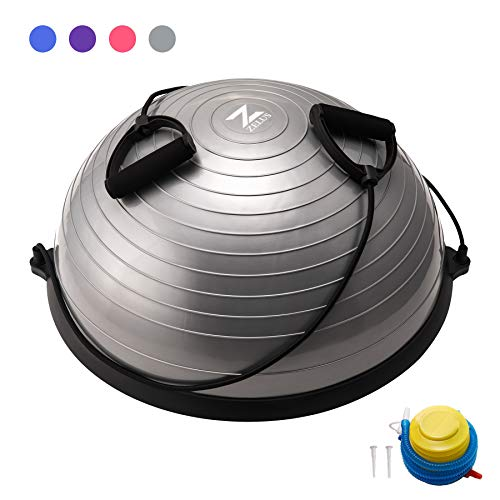 Lowest Price! ZELUS Balance Ball Trainer Half Yoga Exercise Ball with Resistance Bands and Foot Pump...