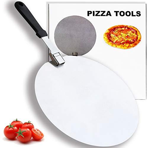 Pizza-Pfannen aus Edelstahl mit faltbarem Griff, 30,5 cm, zum Backen von hausgemachter Pizza und Brot