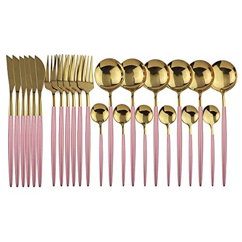 Juego de cubertería de 24 piezas, multicolor, de acero inoxidable, para 6 personas, color dorado, cubertería de comedor, cuchillo, tenedor, cuchara, vajilla (juego de 24 unidades)