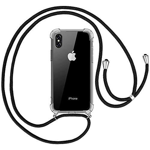 omitium Handykette Handyhülle für iPhone XS Max, Hülle iPhone XS Max Necklace Halskette Transparent Silikon Schutzhülle Schnur Kordel mit Cover TPU Bumper Hülle für iPhone XS Max - 6,5 Zoll