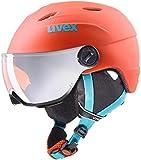 Uvex Kinder junior Visor pro Skihelm, Orange/Petrol Met Mat, 52-54