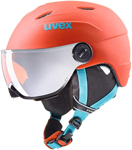 Uvex Kinder junior Visor pro Skihelm, Orange/Petrol Met Mat, 52-54