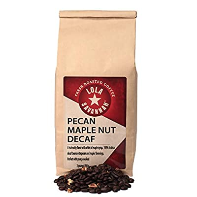 Lola Savannah Pecan Maple Nut Whole Bean Coffee - Crafted Rich Nutty Flavor with Real Pecan Pieces & Hint of Maple Syrup | Decaf | 2lb Bag