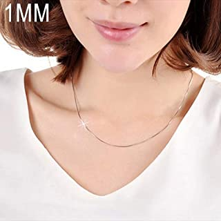 New Fashionable Beauty Chains 1MM Personality Fashion Silver Plated Snake Bone Chain(Silver length:16 inch) (Color : Silver)