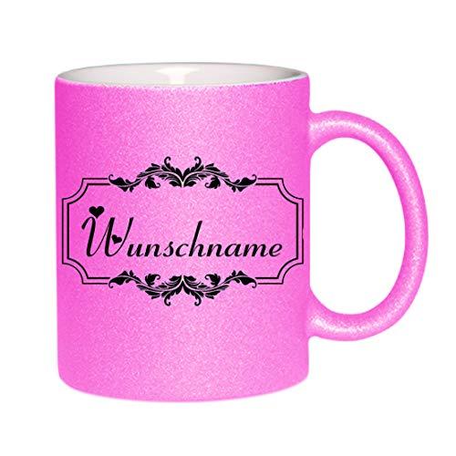 Crealuxe Glitzertasse (Pink) Wunschname mit Motiv - Kaffeetasse, Bedruckte Tasse mit Sprüchen oder Bildern, Bürotasse,