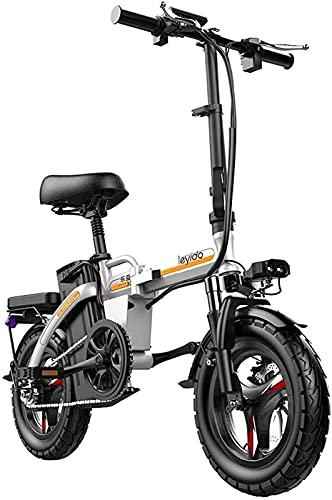 Bicicleta electrica Bicicletas eléctricas rápidas para adultos plegables portátiles de bicicleta eléctrica para adultos bicicleta híbrida 48V batería de iones de litio extraíble 400W Motor de 14 pulga