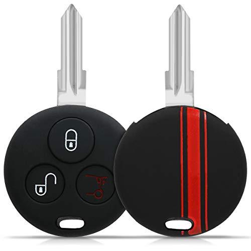 kwmobile Cover chiave compatibile con Smart con 3 tasti controllo remoto - Guscio protettivo coprichiave morbido silicone TPU - Strisce Rally rosso/nero
