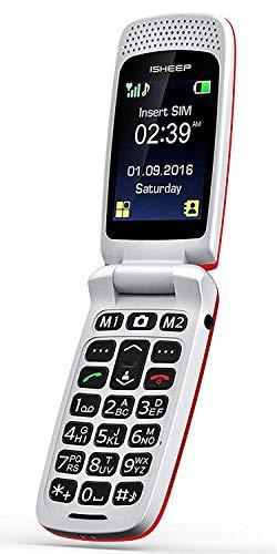 ISHEEP GSM/2G Téléphone Portable Débloqué avec Grandes Touches (Rouge)