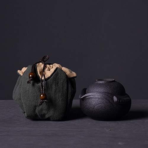 Sdvklly Tetera de cerámica Gaiwan Tazas de té para el Juego de té de Viaje portátil Puer con Bolsa de clotth (Color : Black)