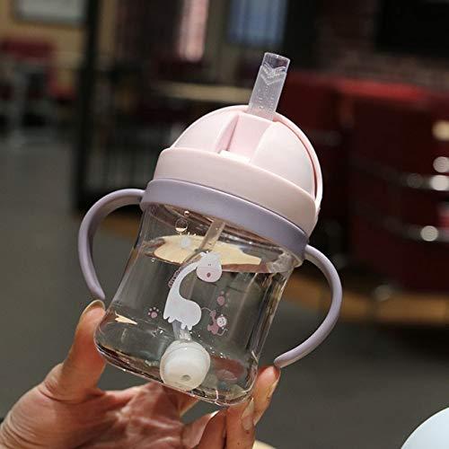 Taza de Agua de plástico para niños de Dibujos Animados con Taza de Paja graduada Botella de Agua para bebés Anti-bebé Anti-caída y a Prueba de Fugas - con Bola de Gravedad, 300 ml