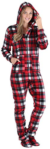 SleepytimePJs Women's Fleece Hooded Footed Onesie Pajama, Red Black Plaid, MED