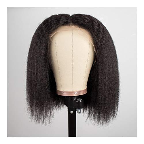 Femmes Droit brésilien court avant de dentelle de cheveux humains longues perruques Bob humide et ondulé perruque pré plumé for les femmes Remy 13x4 pour les femmes Cosplay Party