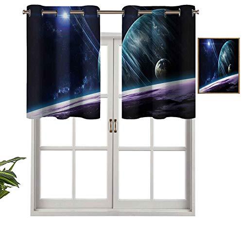Hiiiman Cenefa de cortina con ojales de alta calidad universo con planetas y efectos luminosos dinámicos de astronomía corporal, juego de 1, 137 x 45 cm para decoración de interiores