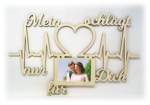 Namofactur Holz Bilderrahmen 10x15 cm Mein Herz schlägt nur für Dich Geschenk zum Valentinstag Jahrestag Liebesbeweis Mann Frau Wand Foto Ehepaar Ehefrau Ehemann