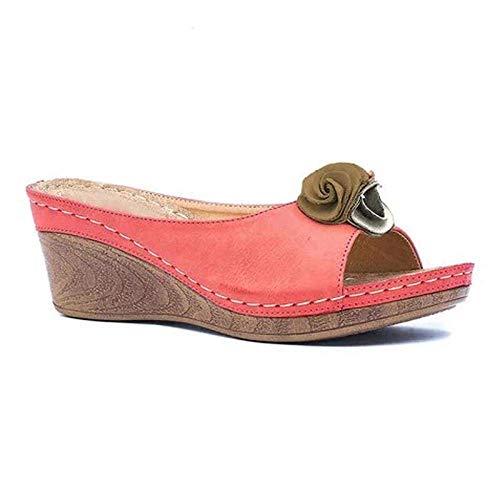 Ducha antideslizante Casa sandalias, sandalias de tacón pendiente de flores y zapatillas, antideslizante, resistente al agua sandalias de pink_36, sandalias del dedo del pie junto a la piscina profesi